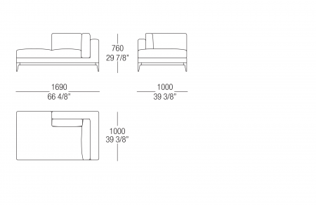 Chaise longue W. 1690 mm