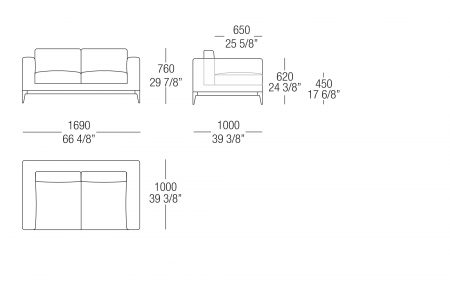 Sofa W. 1690 mm