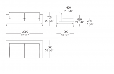 Sofa W. 2090 mm