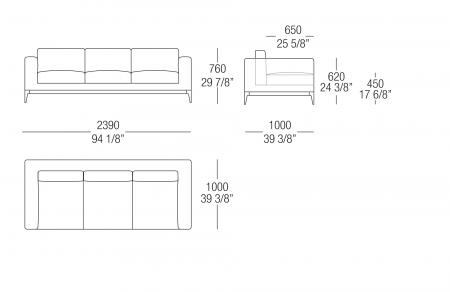Sofa W. 2390 mm