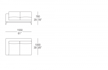 Terminal element W. 1550 mm