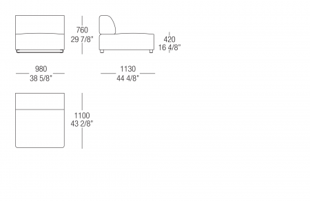 Central and terminal element W. 980 mm