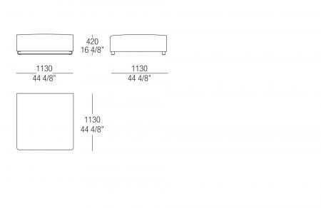 Square pouf W. 1100 mm, SX-DX