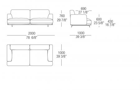 Sofa W. 2000 mm