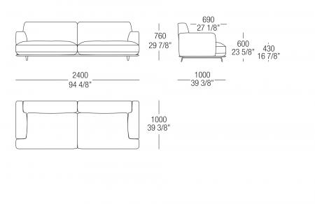 Sofa W. 2400 mm