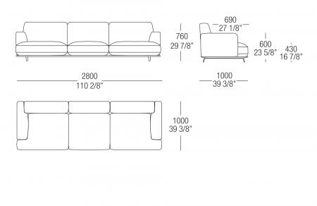 Sofa W. 2800 mm