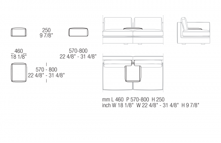 Inserted armrest W. 460 mm
