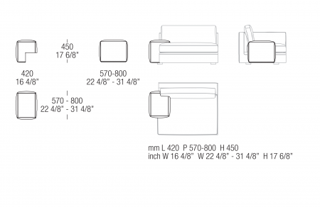 Low armrest W. 420 mm