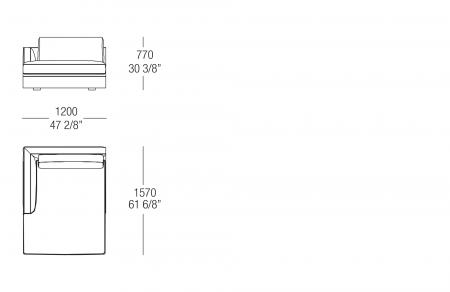 Chaise Longue W. 1200 mm, SX-DX