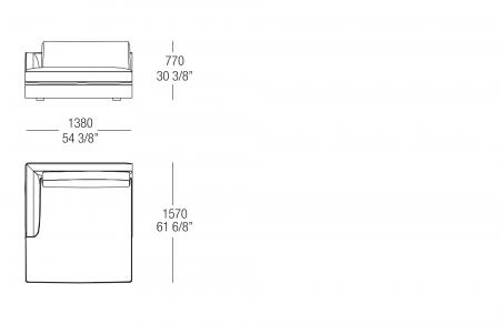 Chaise Longue W. 1380 mm, SX-DX