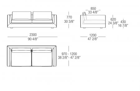 Sofa W. 2300 mm