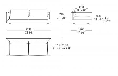 Sofa W. 2500 mm