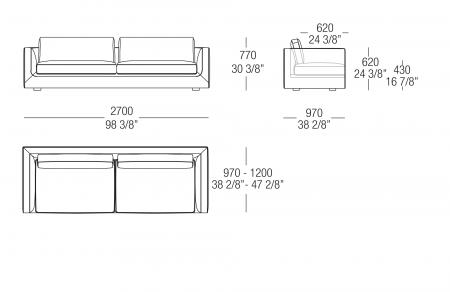 Sofa W. 2700 mm