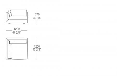 Terminal corner element W. 1200 mm, SX-DX