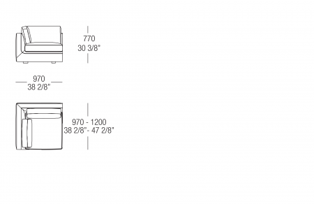 Terminal corner element W. 970 mm, SX-DX