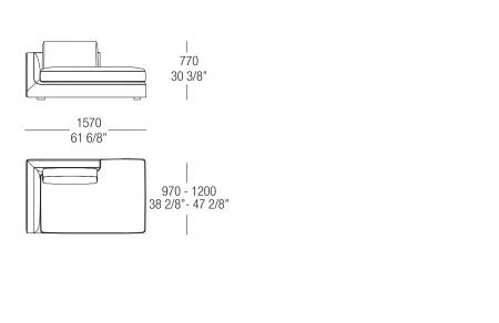 Terminal element with backrest W. 1570 mm, SX-DX