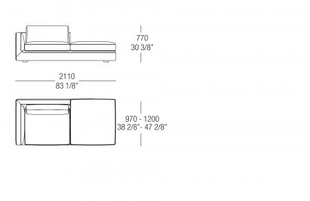 Terminal element with backrest W. 2110 mm, SX-DX