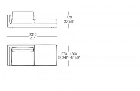 Terminal element with backrest W. 2310 mm, SX-DX