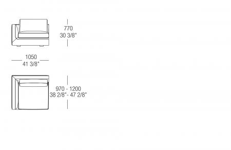 Terminal element W. 1050 mm, SX-DX