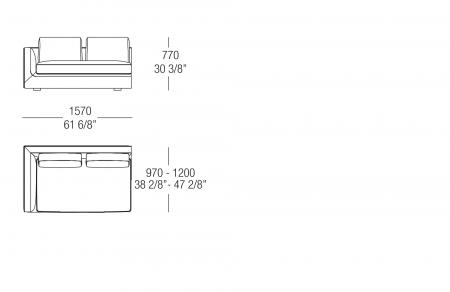 Terminal element W. 1570 mm, SX-DX