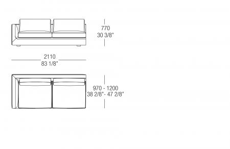 Terminal element W. 2110 mm, SX-DX