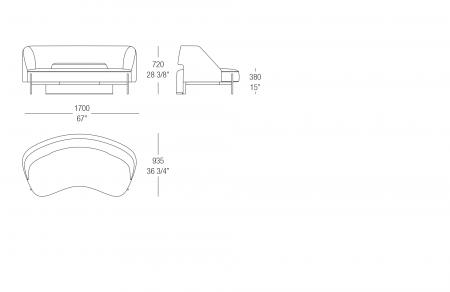 Round sofa W. 1700 mm