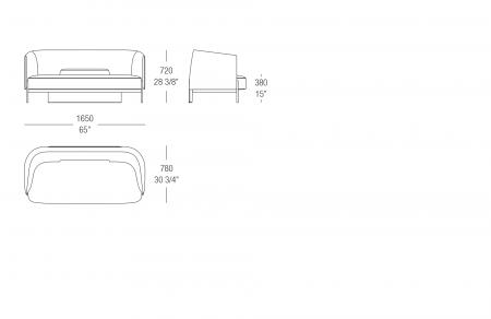 Sofa W. 1650 mm