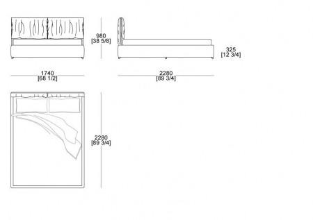 Bed with box (mattress L.1600 mm x D. 2100 mm)
