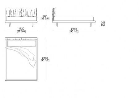 Bed without box (mattress L.1600 mm x D. 2100 mm)