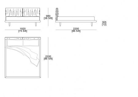 Bed with box (mattress W.1800 mm x D. 2100 mm)