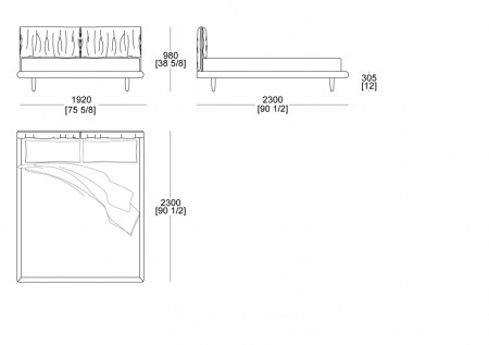 Bed without box (mattress W.1800 mm x D. 2100 mm)