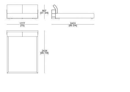 Upholstered bed (mattress W. 1600 x D. 2000 mm)