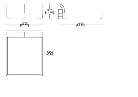 Upholstered bed (mattress W. 1800 x D. 2000 mm)