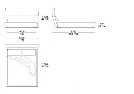 Bed (mattress W. 1600 x D. 2100 mm)