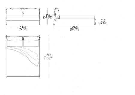 Bed (mattress W. 1800 x D. 2000 mm)