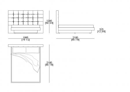 Raisable bedspring (mattress W. 1600 x D. 2000 mm)