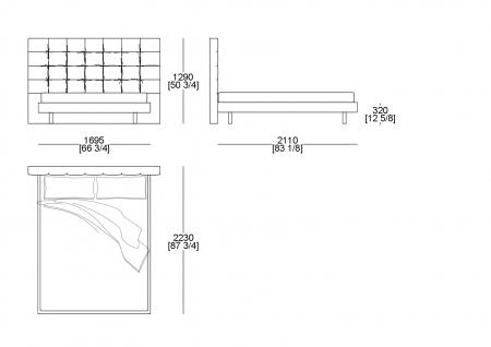 Bed (mattress W. 1600 x D. 2000 mm)