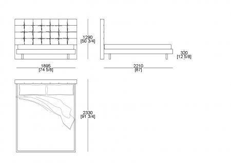 Bed (mattress W. 1800 x D. 2100 mm)