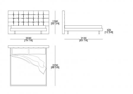 Bed king size (mattress W. 1930 x D. 2020 mm)