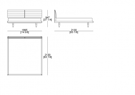 Fixed bedsping (mattress W. 1800 x D.2000 mm)
