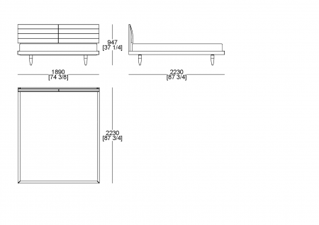 Fixed bedsping (mattress W. 1800 x D.2100 mm)