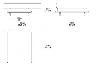 Letto rete fissa (materasso L. 1600 x P. 2100 mm)