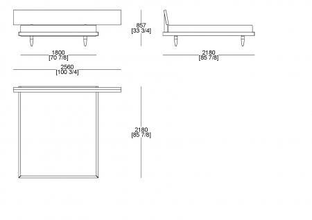 Letto rete fissa (materasso L. 1800 x P. 2000 mm)