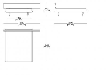Letto rete fissa (materasso L. 1800 x P. 2100 mm)