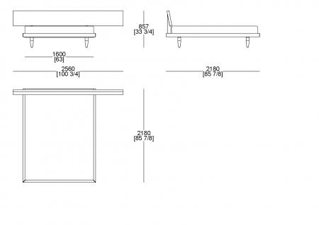 Letto rete fissa (materasso L. 1600 x P. 2000 mm)