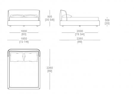 Bed with box (mattress W. 1600 mm x D. 2000 mm)
