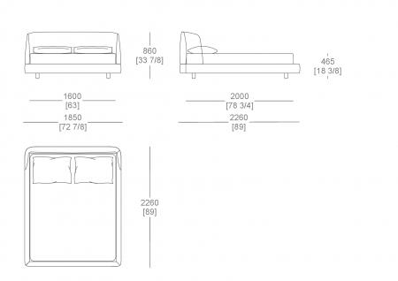 Bed without box (mattress W. 1600 mm x D. 2000 mm)