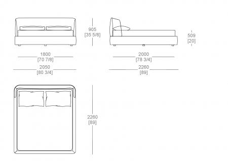 Bed with box (mattress W. 1800 mm x D. 2000 mm)