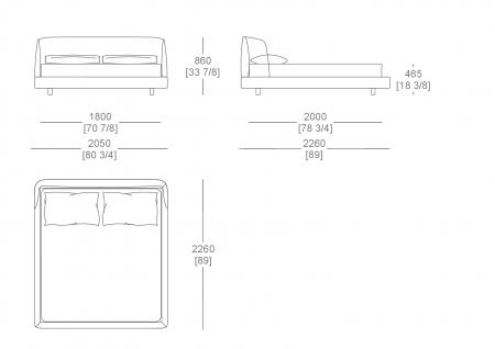 Bed without box (mattress W. 1800 mm x D. 2000 mm)