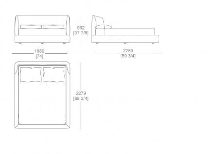 Raisable bedspring (mattress W. 1600 x D.2000 mm)